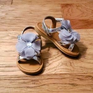 Silver Floral Sandals Toddler Summer Grey Sparkly